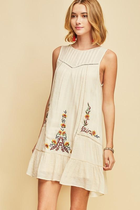 Entro Embroidered Babydoll Shift Dress - Natural