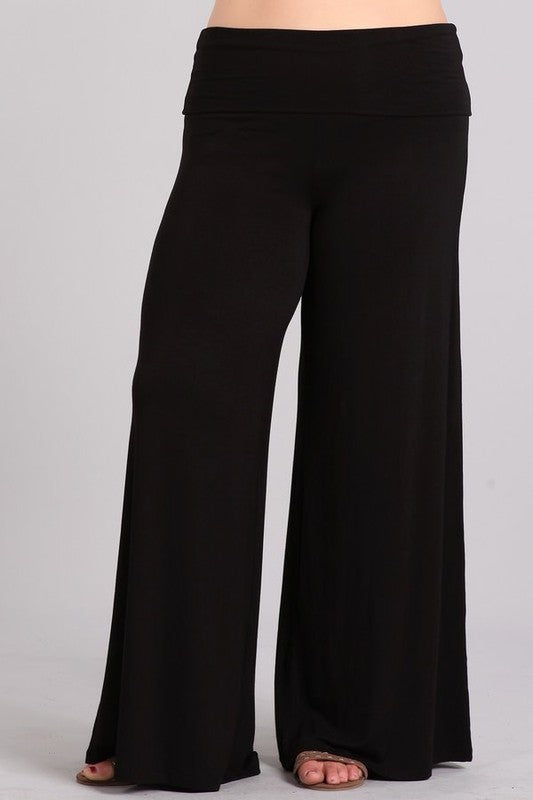 Chatoyant Black Foldover Waist Wide Leg Pants