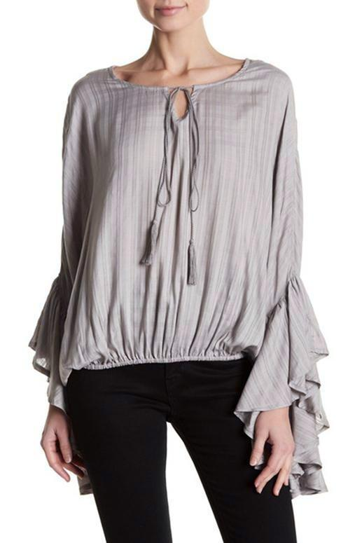 Elan Boatneck Flare Sleeve Top - Grey