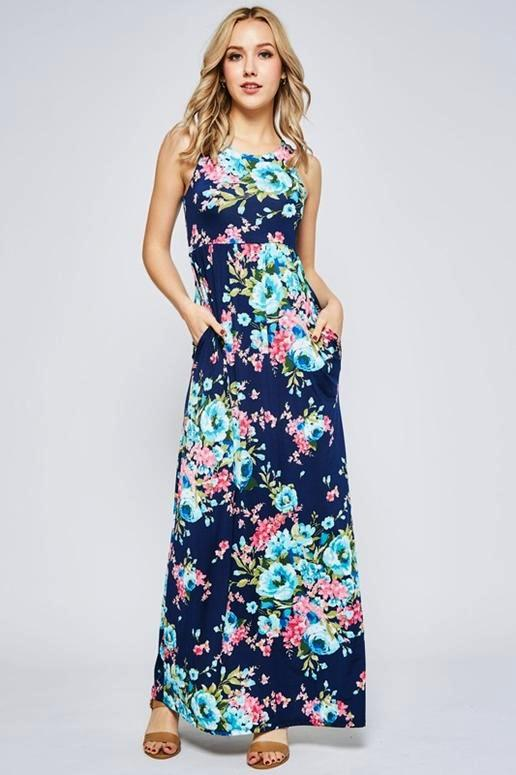 Beeson River Floral Racer Back Maxi Dress - Navy
