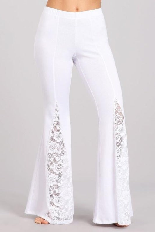 Chatoyant Ponte Lace Inset Bell Bottom Soft Pants - White