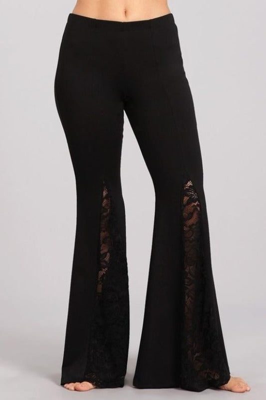 Chatoyant Ponte Lace Inset Bell Bottom Soft Pants - Black