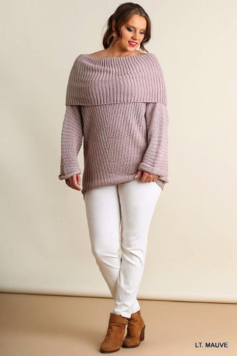 Bundled In Cozy Sweater Top - Umgee Plus - Lt Mauve