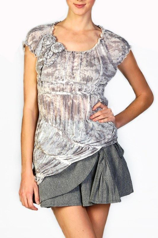 Renaissance Roses Burnout Top - Taupe