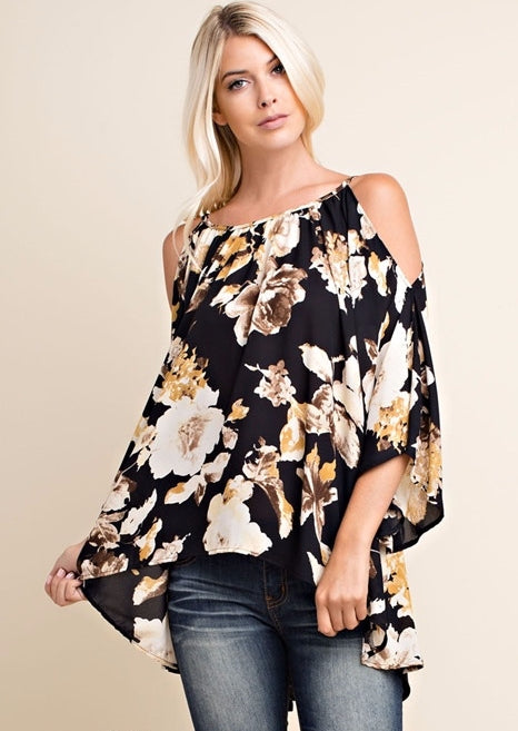 Midnight Floral Cold Shoulder Blouse