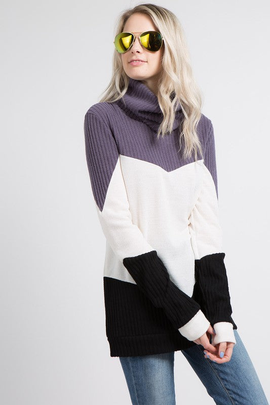 Mon Ami Color Block Pullover - Plum Black