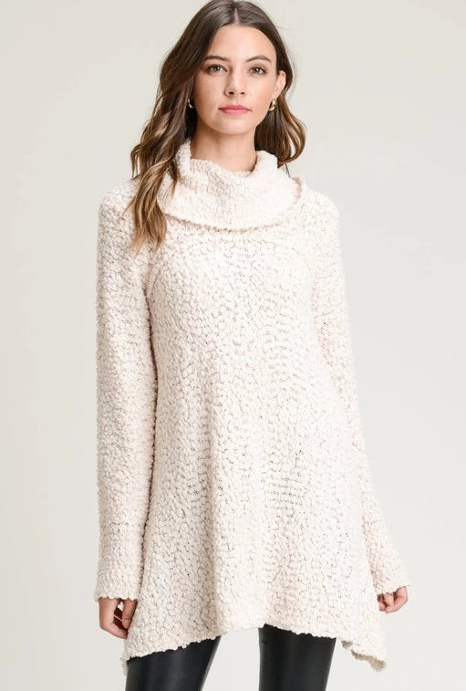 Jodifl Boucle Icicle Cowl Neck Pullover Popcorn Tunic - Natural