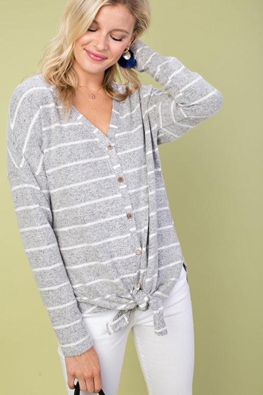 Just Selfie Me Stripe Knot Top - Heather Gray