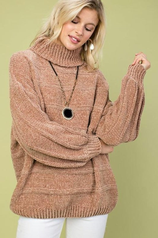 Snowy Mountain Magic Turtleneck Top - Camel
