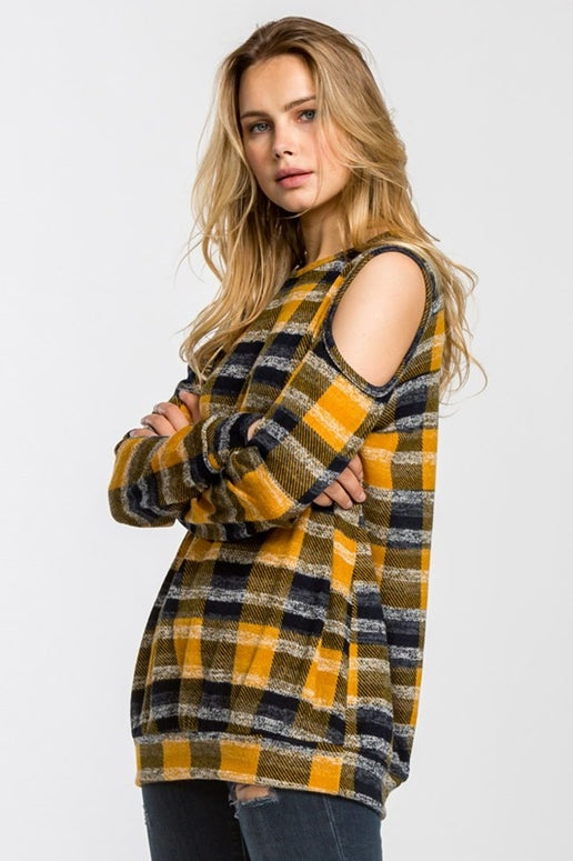 Cherish Pumpkin Plaid Open Shoulder Top
