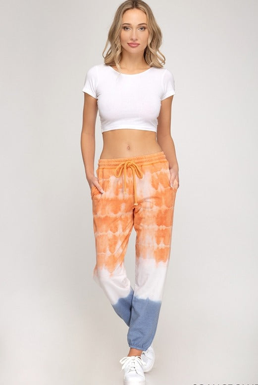 She + Sky Tie Dye Jogger - Orange/Blue
