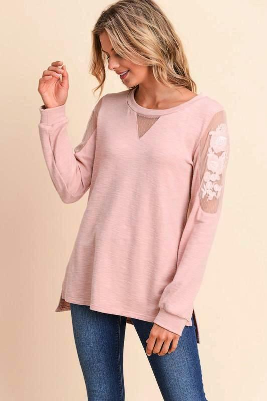 Doe & Rae Embroidered Sleeve Blouse - Dusty Rose