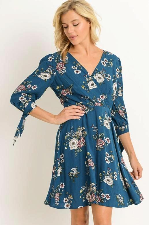 Gilli Empire Floral Dress - Teal