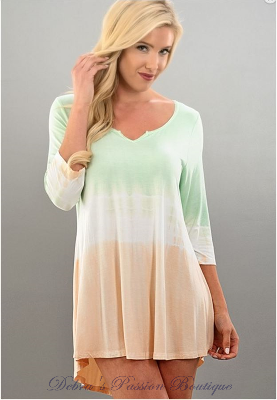 Lighten My Day Tunic Top - Mint Peach