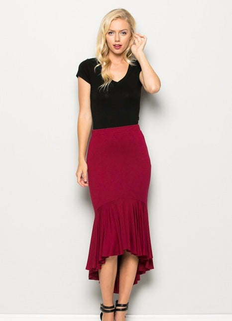Chic Sassy Ruffles Mermaid Skirt  - Burgundy