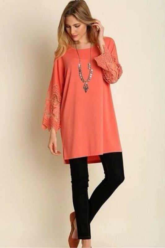 Umgee Luxe Tunic Lace Bell Sleeve - Papaya
