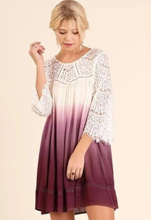 Umgee Ombre Lace Bell Sleeve Dress - Purple