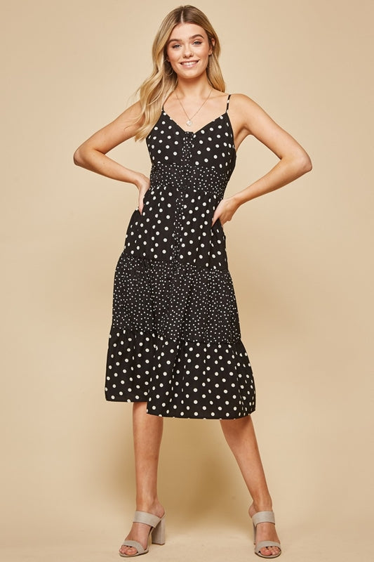 Polka Dot Midi Dress - Black