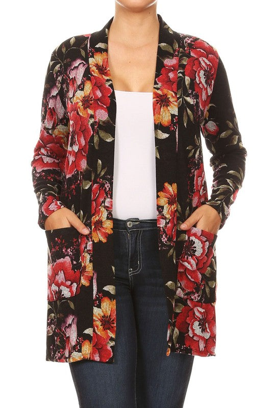 Floral Print Open Plus Pockets Cardigan - Black