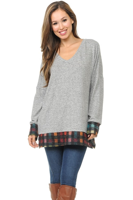 Light Gray Tunic Rainbow Check Hem