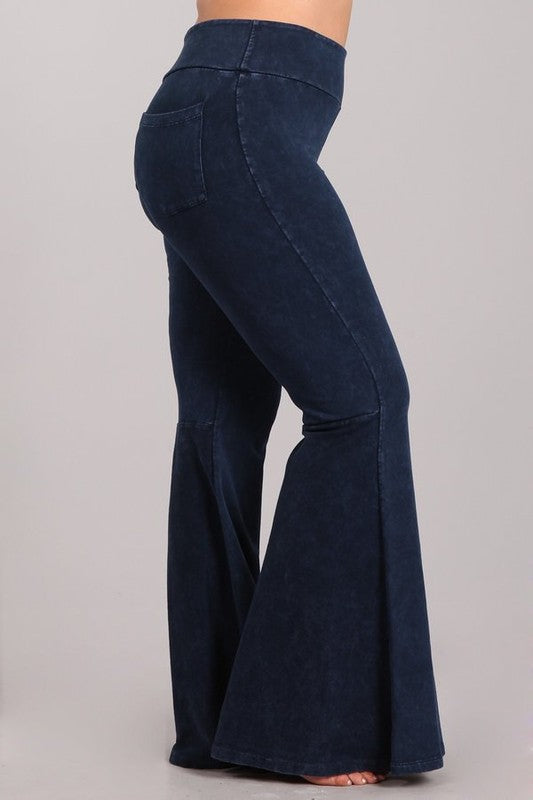 Chatoyant Dark Denim Back Pocket Bell Bottom Plus Pants