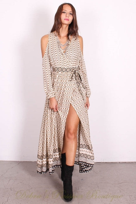 Lunik Cold Shoulder Maxi Wrap Dress -  Cream