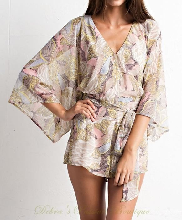 Paradise Floral Romper - Lunik -Rosy Taupe