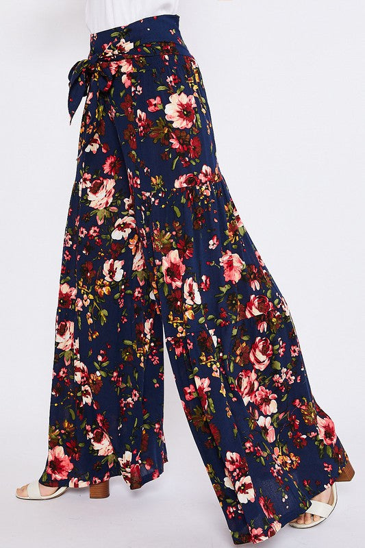Jessica Floral Palazzo Pants - Navy