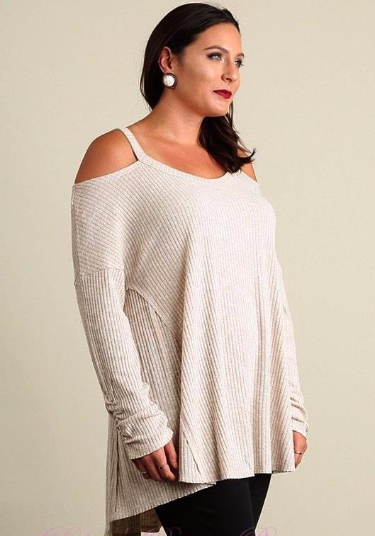 Just Chillin' Umgee Cold Shoulder Ribbed Tunic Plus- Taupe