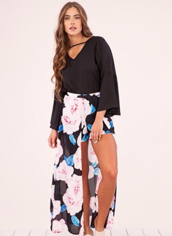 Peach Love Long Skirt with Shorts - Black Pink Blue