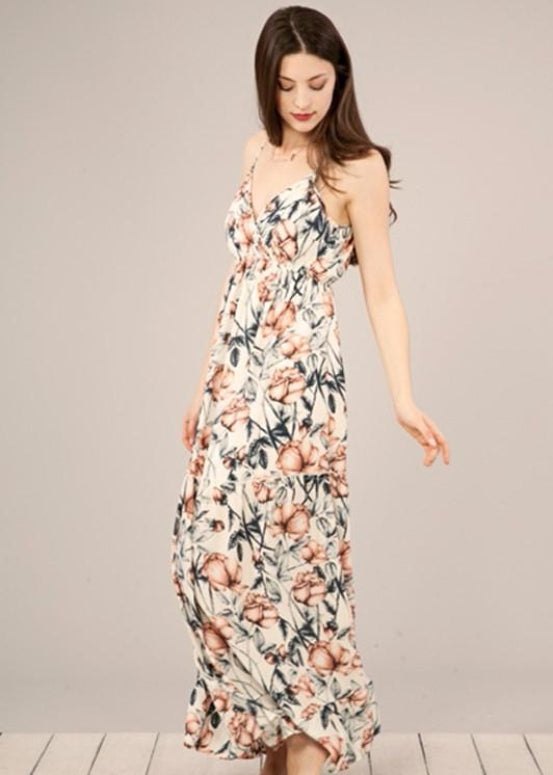 Peach Love Floral Tiered Maxi Dress -Cream