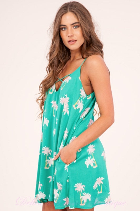 Peach Love Palm Trees Dress - Green/Pink