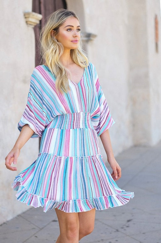 Ocean Striped Ruffle Tiered Dress - Blue Multi