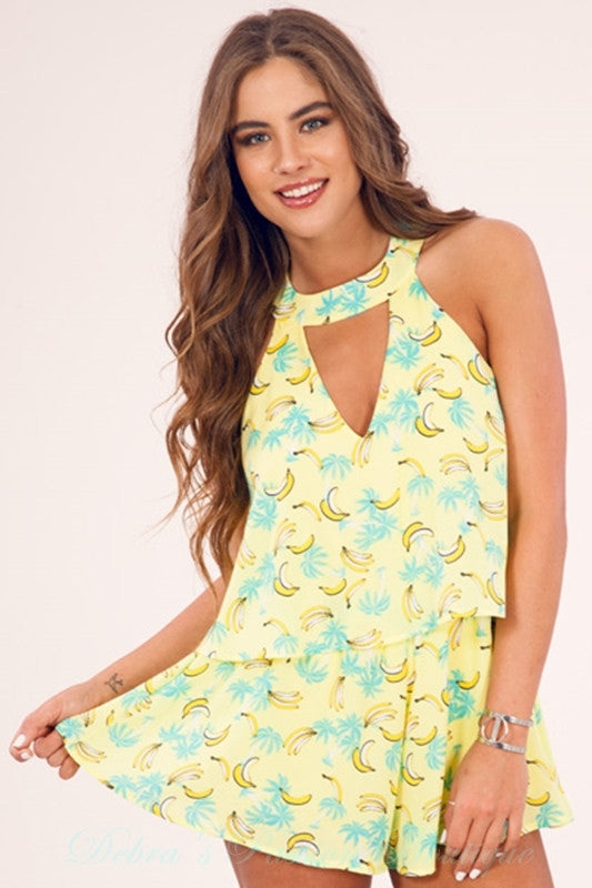 Peach Love Banana Romper - Yellow Mint