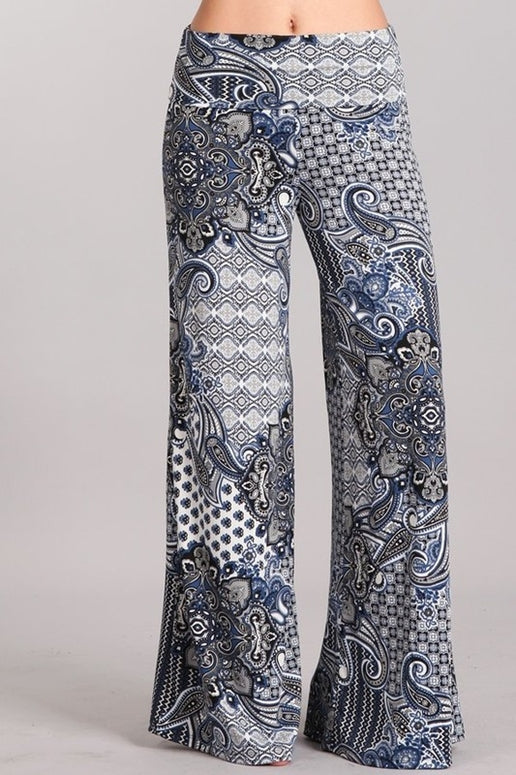 Chatoyant Plus Baroque Print Pants - Blue Multi
