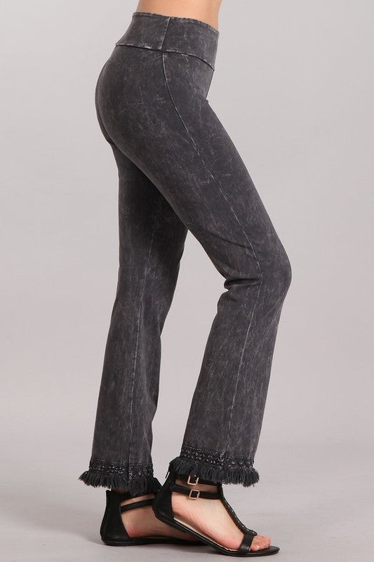 Chatoyant Ankle Fringe Hem Pants - Dark Ash Gray