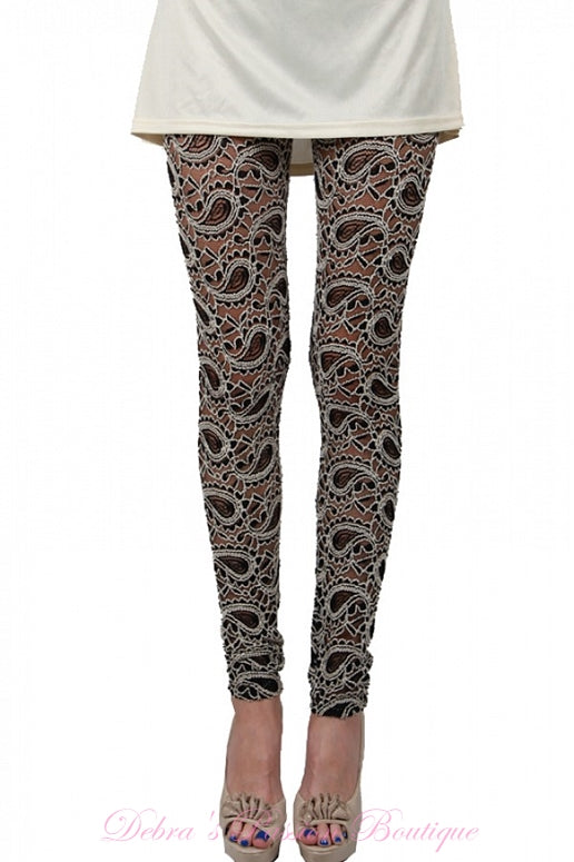A'Reve Sheer Swirl Paisley Lace Leggings