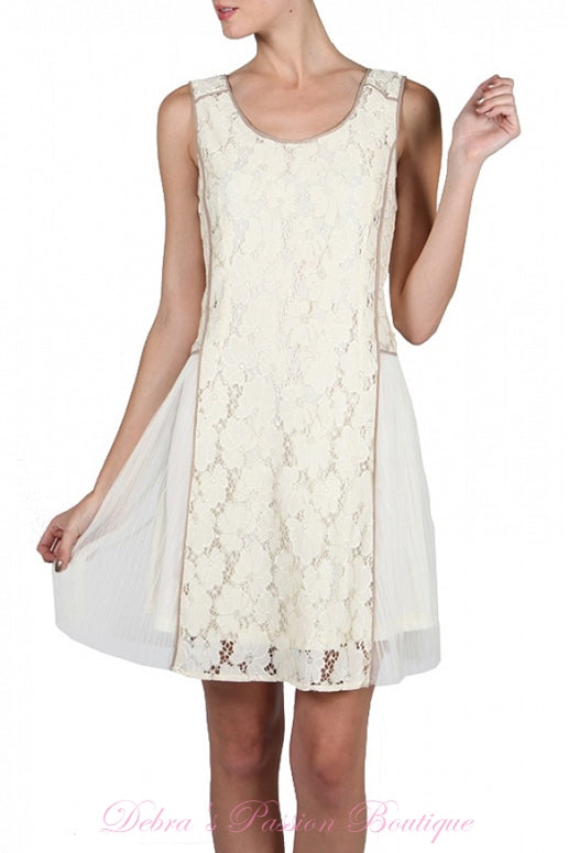 A'Reve Romantic Lace & Mesh Dress - Cream