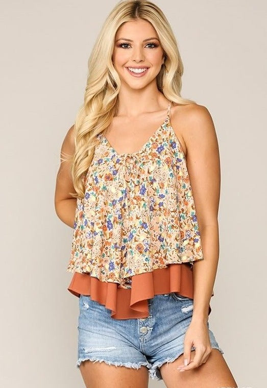 Layer Cami Flower Racer Top - Apricot