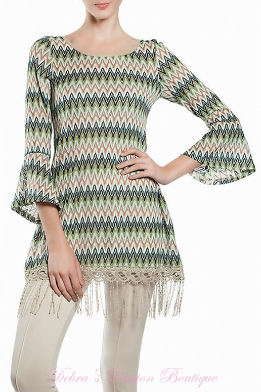 A'Reve Chevron Knit Tunic  + Back Criss Cross Lace Up - Teal Multi