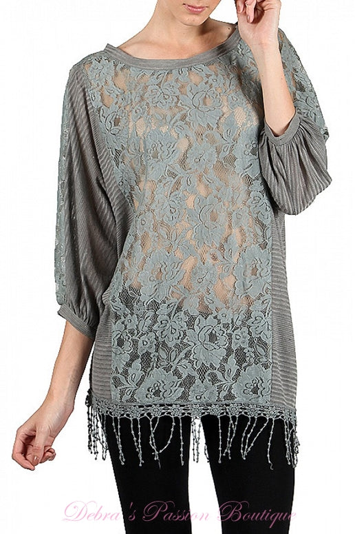 A'Reve Sheer Lace Fringe Blouse - Grey/Charcoal