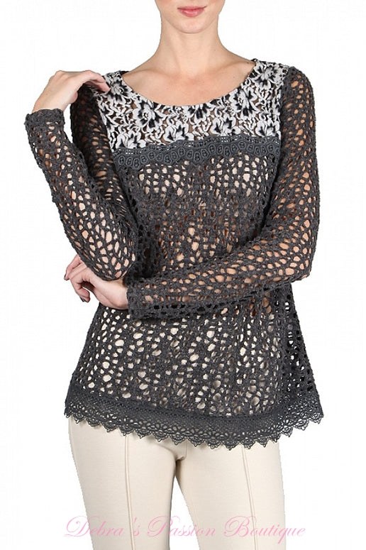 A'Reve Crochet & Lace Sweater Top - Charcoal