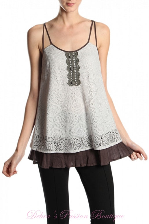 A'Reve Romantic Lace Tank - Grey