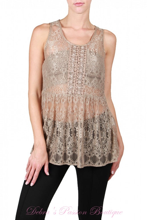A'Reve Beaded Lace Tank - Taupe