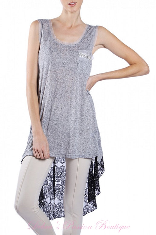 A'Reve Boho Shabby Chic Heather Beads Hi Lo Tank - Grey