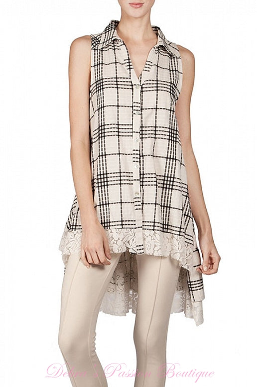 A'Reve Checkered Shirt Hi Lo - Ivory