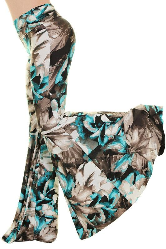 Uptown Wide Bell Bottom Floral Skinny Pants - Mint