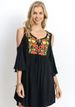 Jodifl Delight Embroidered Cold Shoulder Dress - Black