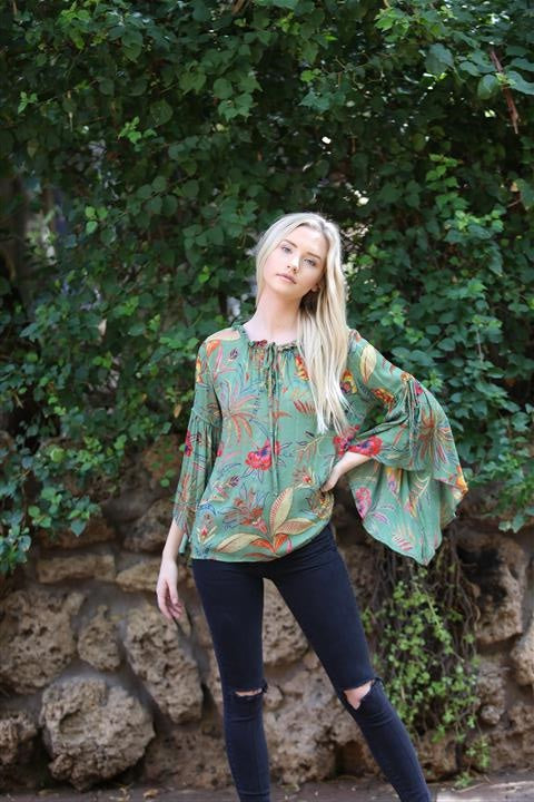 Angie Boho Bell Sleeve Green Top