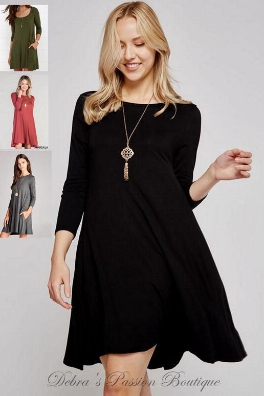 Bellamie 3/4 Sleeve Swing Dress - Black, Charcoal, Marsala, Olive